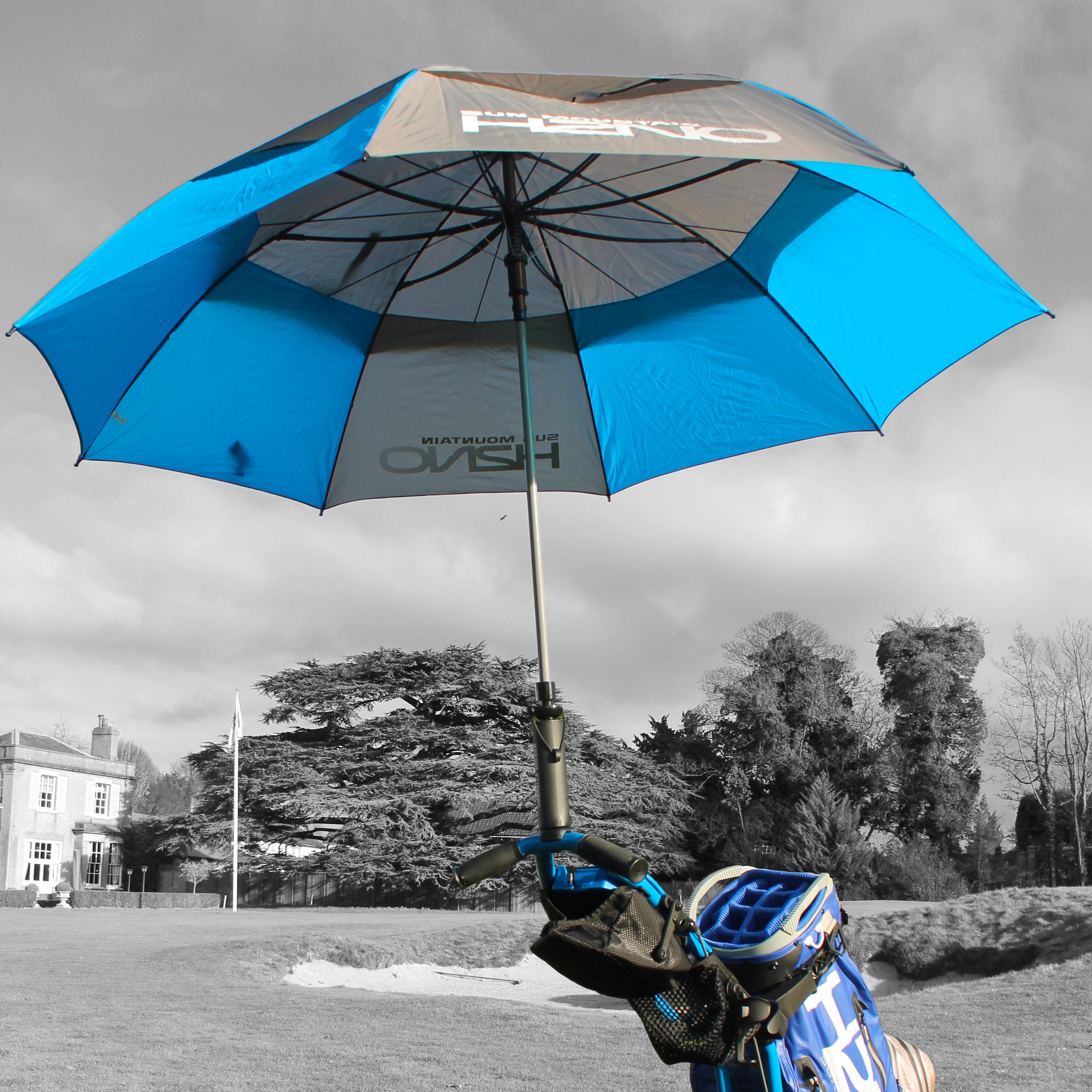 A 2019 H2NO Umbrella on a Sun Mountain Golf Bag