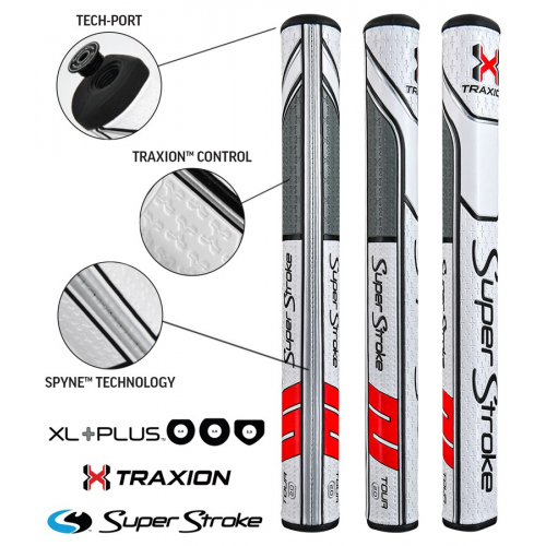 Superstroke Traxion Tour Xl Plus 2.0 White/Red/Grey