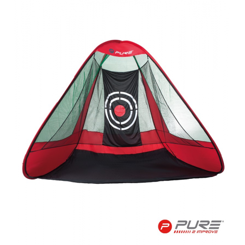 Pure2Improve Golf Triangular Practice Net Red/Black